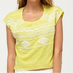 Roxy Embroider Yellow Cropped Top
